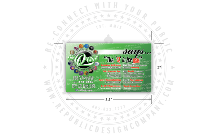Q Club Oxnard Business Card Marketing Tool digital proof front