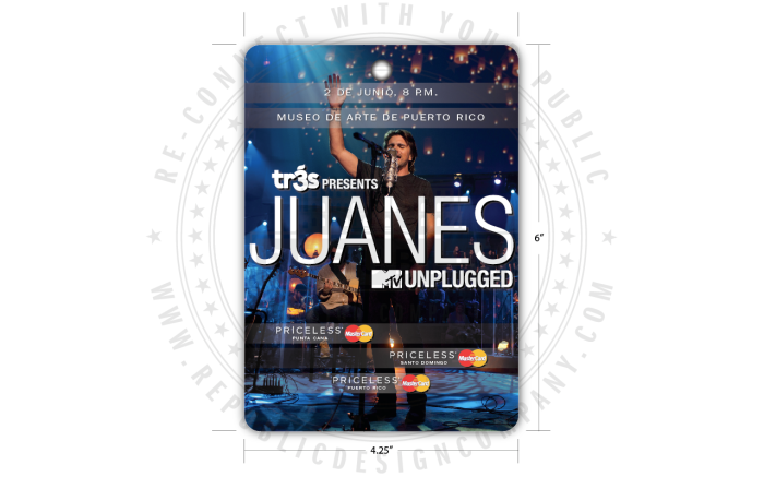 Universal Music Latin Entertainment + Mastercard + Juanes + MTV Unplugged credentials front