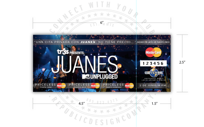 Universal Music Latin Entertainment + Mastercard + Juanes + MTV Unplugged ticket (w/stub) front