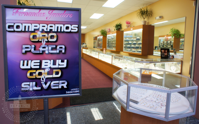 "Fernandez Jewelers Poster ""We Buy Gold & Silver"""