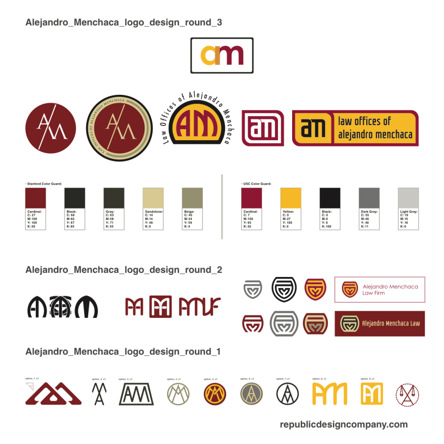 Law Offices of Alejandro Menchaca Logo Design Variations